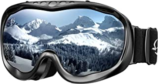 ENKEEO Ski Goggles OTG Snowboard Goggles - Dual Lens, Anti-Fog, 100% UV400 Protection Helmet Compatible Snowmobile Goggles for Men, Women, Youth & Kids Skiing Snowboarding Skating Winter Sports