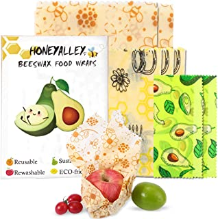 HONEYALLEY Reusable Beewax Food Wrap, 7 Pack Plastic Free Alternative for Food Storage, Eco Friendly Sustainable Bowl Cove...
