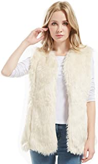 Bellivera Lady Faux Fur Vest Solid Warm Sleeveless Warm Waistcoat Overcoat Winter Jacket