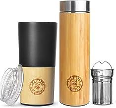 Original Bamboo Tumbler with Tea Infuser & Strainer by LeafLife | Premium Tea Bottle | Vacuum Insulated Travel Tea Mug | C...