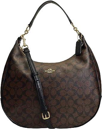 f030f7bc71f3 SALE ! New Authentic COACH Signature Monogram Hobo Large Shoulder Bag in  Elegant Brown Black