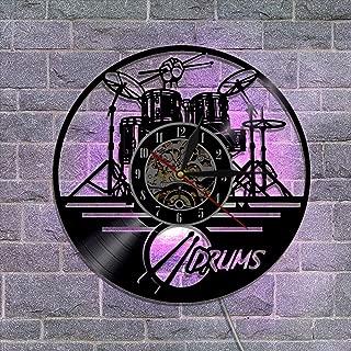 クリエイティブ ビニールレコードの壁掛け時計、ギタードラムバンド リモコン 常夜灯の掛け時計 音楽ファンのためののための最高の贈り物,A