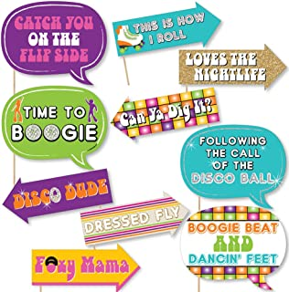 Funny 70's Disco - 1970s Disco Fever Photo Booth Props Kit - 10 Piece