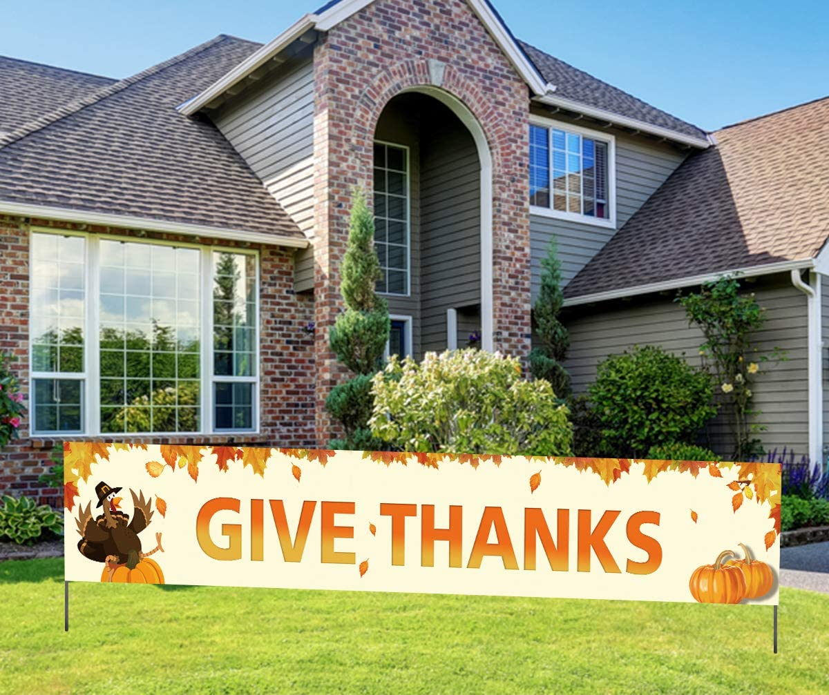 Large Give Thanks Banner Thanksgiv Yard Happy Sign Weekly update National uniform free shipping