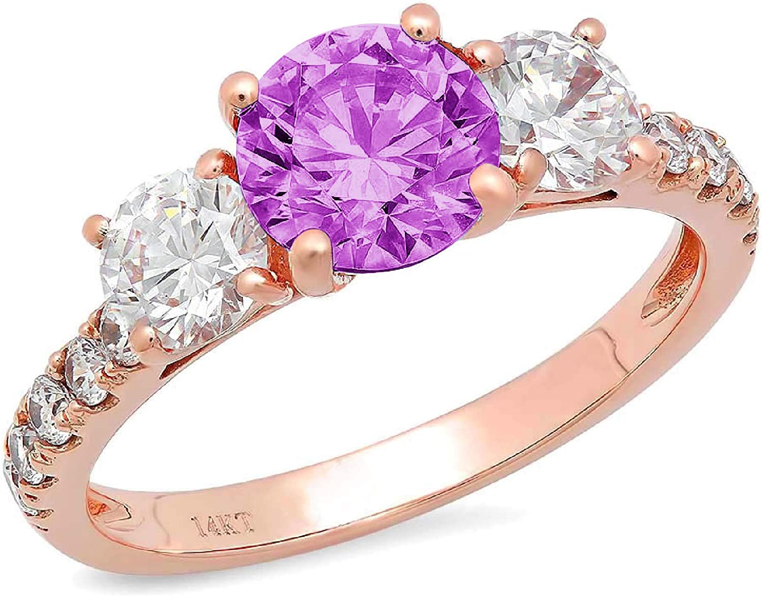 2ct Brilliant Round Cut Solitaire 3 stone With Accent Flawless Simulated Purple Alexandrite Ideal Engagement Promise Anniversary Bridal Wedding Designer Ring 14k Rose Gold