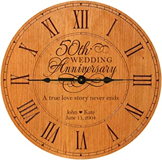 LifeSong Milestones Personalized 50th Anniversary Engraved Cherry Wall or Desktop Clock for Living Room Bedroom, Kitchen, Office, New Home, Couples Gift 12 Inch Diameter (A True Love Story)