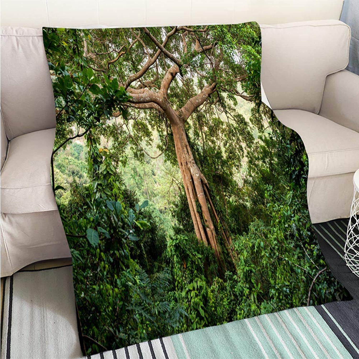 BEICICI Art Design Photos Cool Quilt Jungle Tree Art Blanket as Bedspread gold White Bed or Couch
