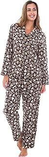 Women's Warm Flannel Pajama Set, Long Animal Print Button Down Cotton Pjs