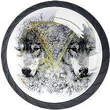 AITAI Set van 4 deurknop decoratieve handgreep Wolf dier elegante toevoeging voor kast lade dressoir slaapkamer
