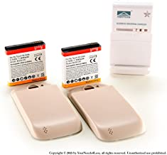 YN4L 2 X 3600mAh Extended Battery for HTC Mytouch Slide 4G T-mobile with White/Khaki Extended Back Cover + Wall Dock Charger Bundle