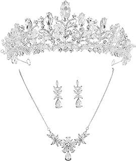 مجموعة تاج الزفاف من إس سنووي من حجر الراين وقلادة تاج وأقراط مجوهرات الزفاف لحفلات التخرج