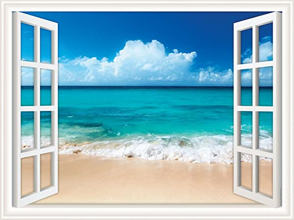 Walls 360 Peel Stick Wall Decal Window Views Ocean Beach With Fluffy Clouds In Sky 24 In X 18 In