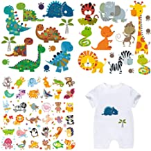 Baby Cute Iron on Patches 3 Sets Birthday Adorable Heat Transfers Appliques DIY Iron on Stickers for Kid's Clothing Girls T-Shirt Bag Cap Decorations Assorted Dinosaur Lion Bird Giraffe Patterns
