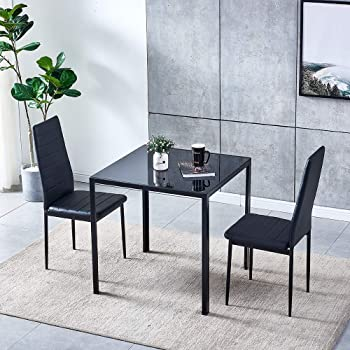 Amazon Com Ansley Hosho 3 Pieces Dining Table Chairs Set Square Glass Dining Table With 4 Faux Leather High Back Chairs Black Dining Room Set For Dining Room Kitchen Small Spaces Table