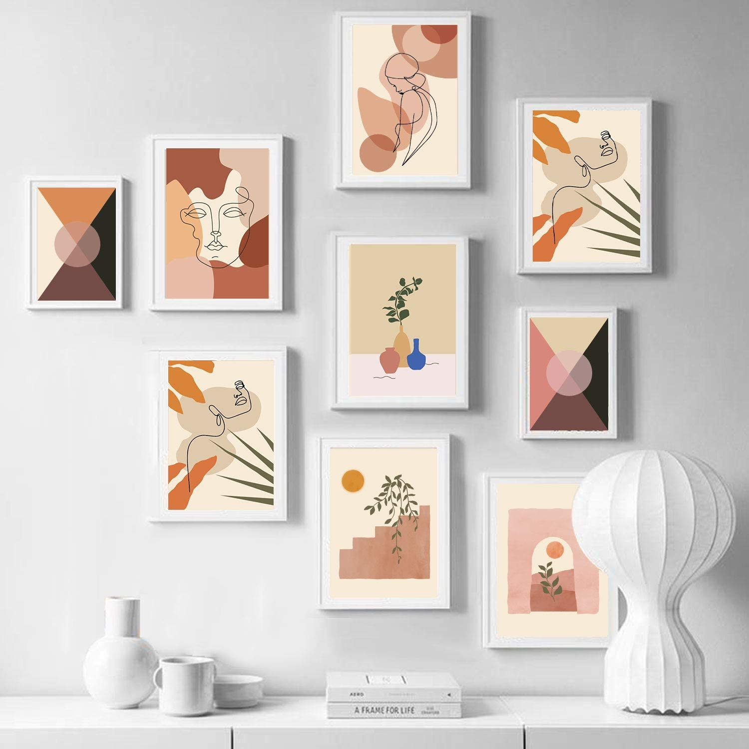 Whaline 6 Pack Mini Abstract Line Art Poster Minimalist Wall Art Prints Waterproof Woman Face Drawing Modern Aesthetic Room Decor for Photo Frame Girls Women Home Bedroom College Dorm 6.48 x 9.21