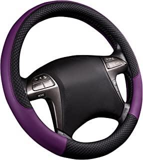 Best CAR PASS Rhombus Leather Universal Steering Wheel Cover, Fit for Suvs,Trucks,Cars,Sedans,Vans(Black and Purple) Review