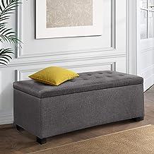 Artiss Fabric Storage Ottoman Bench Grey, 97(L) x 41.5(W) x 37(H)