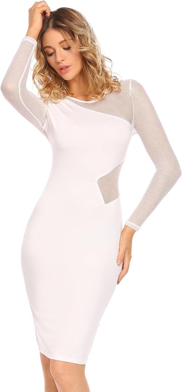 Elesol Womens Sexy Patchwork Bodycon Mesh Sheer See Through Clubwear Midi Dress
