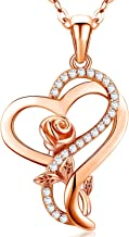 Heart Rose Flower Necklace S925 Sterling Silver Jewelry Pendant Necklaces Christmas Gifts for Women