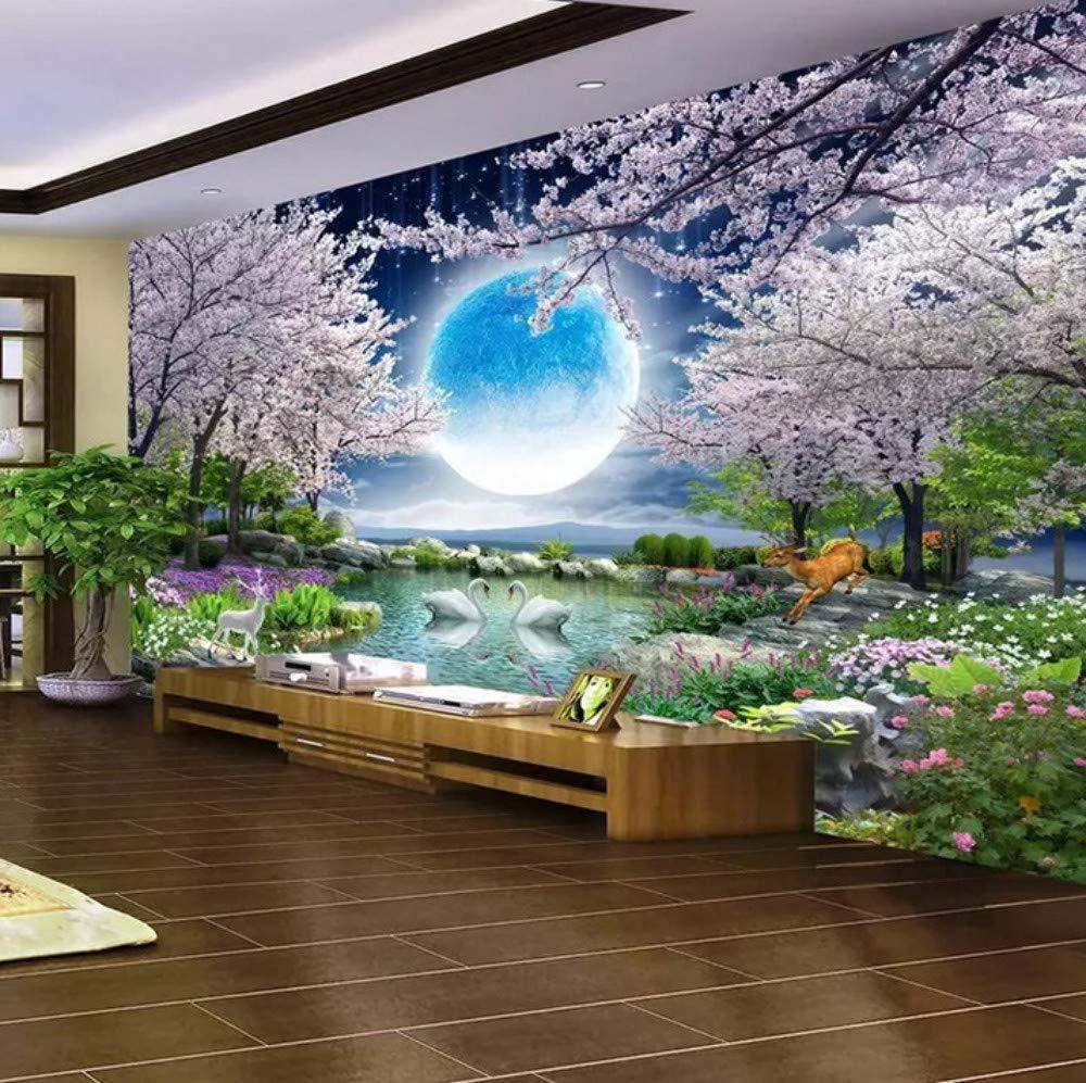 Custom Mural Wallpaper Moon Cherry Blossom Tree Nature Landscape Wall  Painting Living Room Bedroom Photo Wallpaper Home Decor,32  32Cm