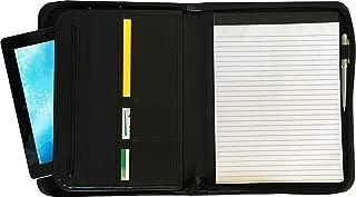 Officewerks 商务公文包带环绕拉链,优质皮革。 iPad/平板电脑套内部夹(*多 10.1 英寸),手机和名片