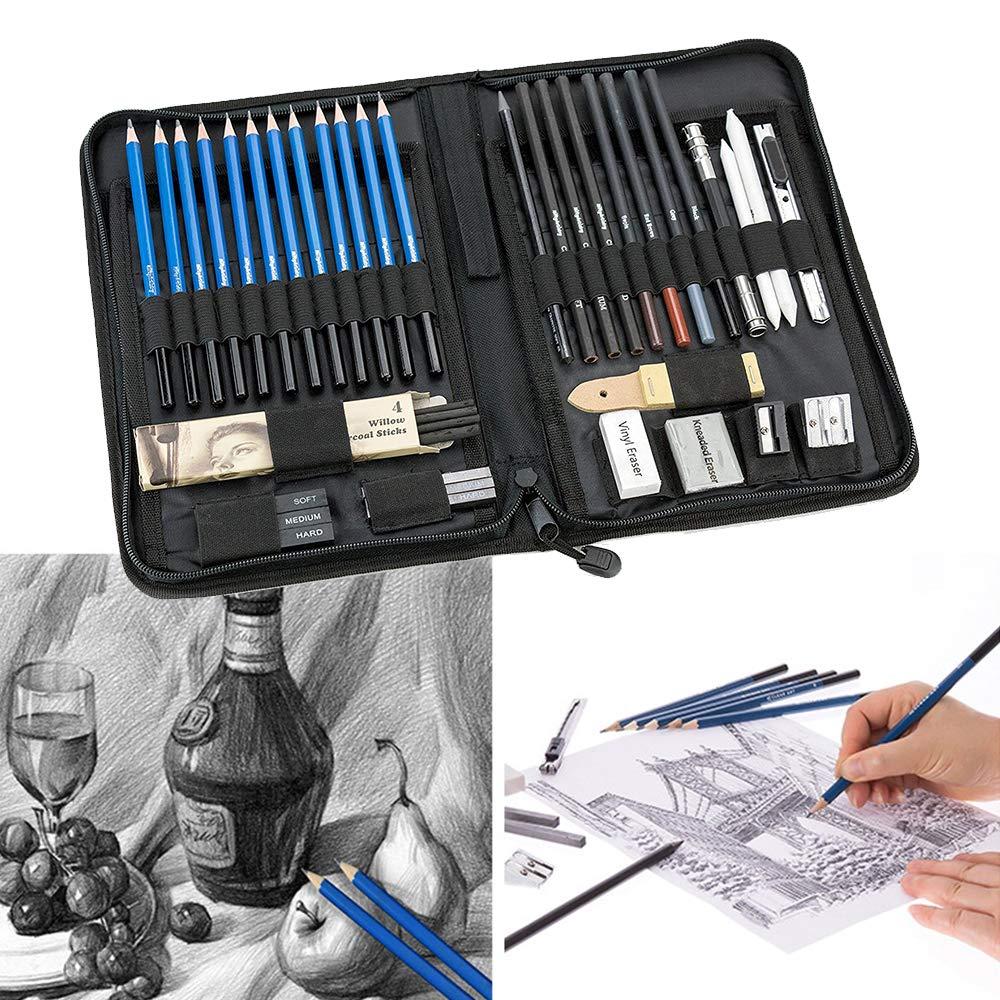 StepWorlf Set de Artista de Dibujo Profesional, lápices, carboncillo y Suministros de Arte (Kit de 40 Piezas) BB251: Amazon.es: Hogar
