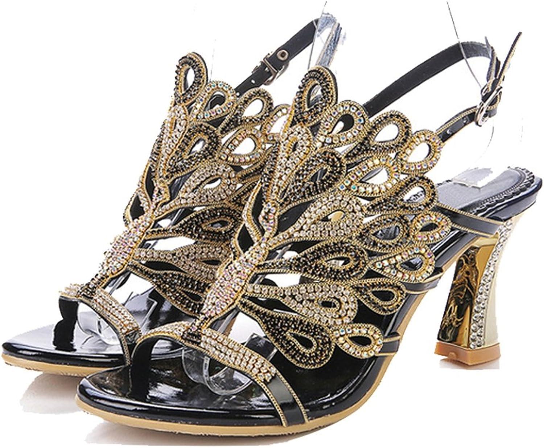 Europa und die Vereinigten Staaten - Diamant-Sandalen High-End-Feine mit dicken Schuhen mit hochhackigen Schuhen Damenschuhe (Farbe   Coarse, gre   35)