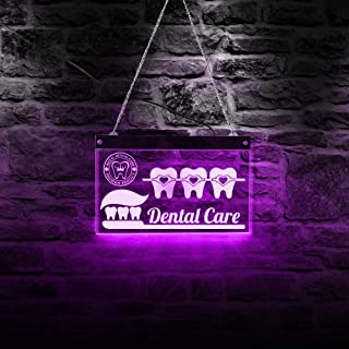 The Geeky Days Custom Dentist Dental Care LED Neon Sign Dental Hygienist Office Bedroom Living Room Lighting Decoration Acrylic Board Tooth Party Sign
