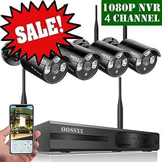OOSSXX 4-Channel HD 720P Wireless Network/IP Security Camera System(IP Wireless WIFI NVR Kits),4Pcs 1.0 Megapixel Wireless Indoor/Outdoor IR Bullet IP Cameras,P2P,App