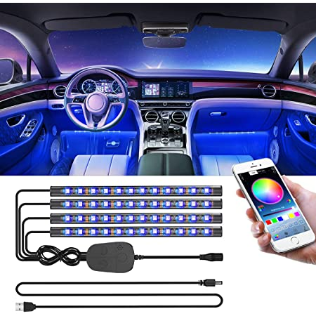 Car LED Strip Light for Cars 36 LED Car Interior Lights USB Atmosphere Neon Lights Multicolor RGB Interior Underdash Lighting Kit with Music Activated Remote Control 5V,36USB