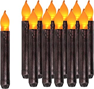 Vintage Church LED Candles 12pcs Purple Table Taper Candles Cooper Dripless Battery Operated Hurricane Candle Tube for Christmas Decorative Window Thanksgiving Day- Primitive Candles