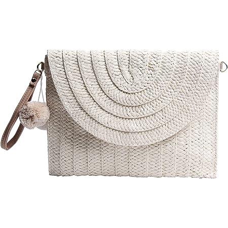 Syrads Damen Stroh Abend Clutch Geldbörse Sommer Strand Handtasche Stroh gewebte Umschlagtasche,Beige 2