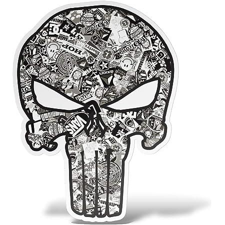 Myrockshirt Punisher Xxl Motorhaube 120x60 Cm Aufkleber Für Auto Scheibe Lack Wand Wandtattoo Aus Hochleistungsfolie Für Alle Glatten Flächen Autoaufkleber Tuning Decal Sticker Auto