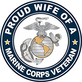 US Marine Corps Veteran Proud Wife Window Car Bumper Sticker Vinyl Decal 3.8
