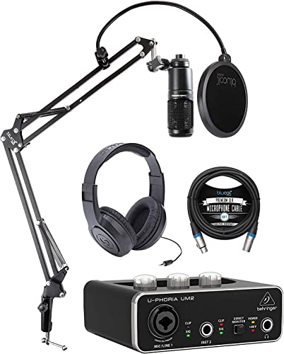 discount Audio outlet sale Technica AT2020 Cardioid Condenser Microphone Bundle with Behringer U-PHORIA UM2 USB Audio Interface, Samson outlet sale SR350 Over-Ear Stereo Headphones, Blucoil Boom Arm Plus Pop Filter and 10' XLR Cable outlet online sale