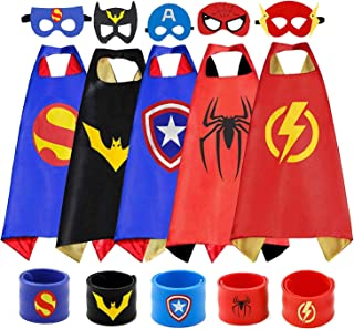 COTATERO Superhero Capes and Slap Bracelets for Kids Cool Halloween Costume Cosplay Festival Party Supplies Favors Dress U...