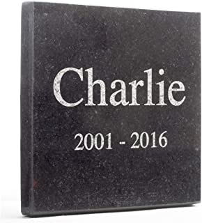 Personalized Granite Memorial Grave Stone Marker Tile | Remembrance Gift | Mom Dad Child Pet Memory (4 inches X 4 inches x 0.4 inches)