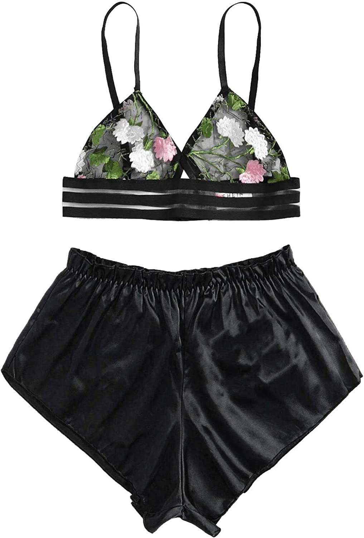 Women's Plus Size Satin Sleepwear Pajama Set 2 Piece Backless Loungewear Cami Shorts Lace Teddy Lingerie Sets