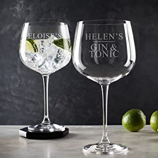Personalized Gin Glass - Engraved Gin and tonic Glasses - Copa De Balon Glass - 30th Birthday Presents for Women - Personalized Birthday Gifts for Women
