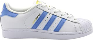 adidas Youth Superstar Foundation White Blue Leather Trainers 4 US