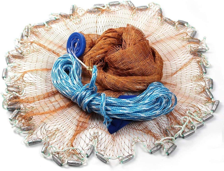GZQ Fishing Net Hand Throw Nylon Mesh Net with Hand String and Heavy Ring