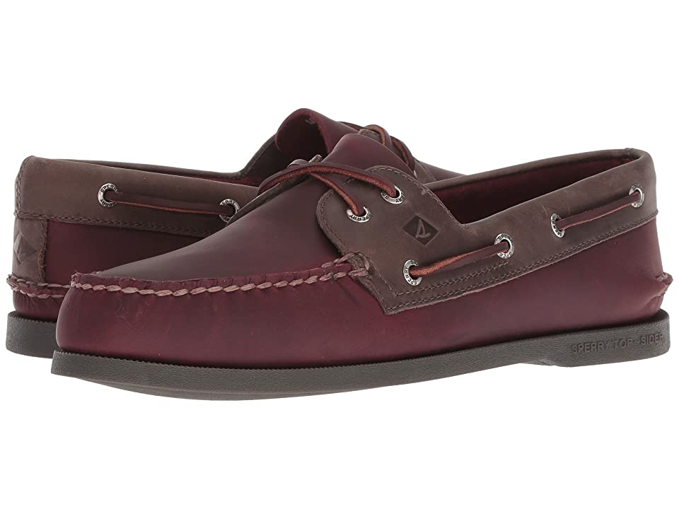 Sperry A/O 2-Eye Richtown Pullup Boat Shoe (Burgundy/Grey) Men