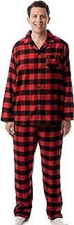 Men's Plaid Button Front Flannel Pajamas Set - Long Sleeve Long Pant