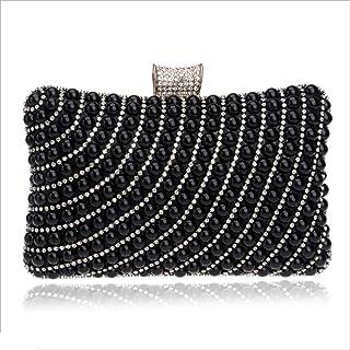 DIEBELLAU Women's Dinner Bag Ladies Fashion Pearl Banquet Bag Hand Evening Bag (Color : Black, Size : XS)