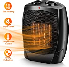 Space Heaters for Indoor Use, Up to 190 sqft, 1500W/1000W/Fan, Portable Electric Heater, Tip-Over & Overheat Shut-off, Adjustable Thermostat, Quiet, 3s Fast Heating, Ceramic Heater for Home & Office