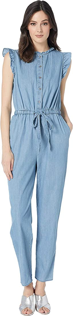 Short Sleeve Denim Cotton Shirting Jumpsuit