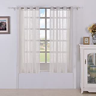 BEST DREAMCITY Faux Linen White Sheer Curtains for Bedroom Window (Pack of 2 Panels, W52 by L63 Inch, White)