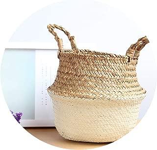 Foldable Handmade Storage Basket Folding Wicker Rattan Seagrass Belly Straw Garden Flower Pot Planter Laundry Basket,Sand,22cmX20cm