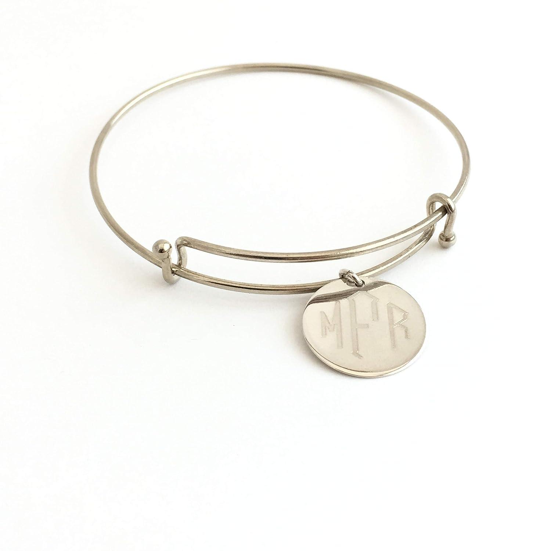 Dallas Mall Monogrammed Adjustable Bracelet Ranking TOP10 in Silver Sterling