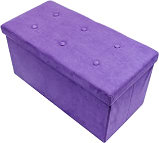 Sorbus Storage Ottoman Bench – Collapsible/Folding Bench Chest with Cover – Perfect Toy and Shoe Chest, Hope Chest, Pouffe Ottoman, Seat, Foot Rest, – Contemporary Faux Suede (Medium-Bench, Purple)